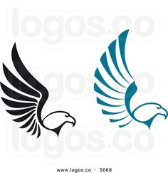 Royalty Free Vector of Black and Blue Flying Eagle Logos