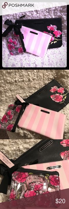 3 piece makeup bag Super cute floral and stripe accessory from Victoria's Secret. The 3 bags attach together with a clasp. Brand new. Tags attached. Victoria's Secret Bags Cosmetic Bags & Cases
