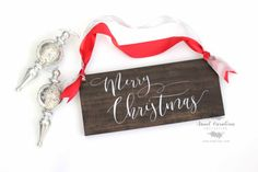 Wooden Merry Christmas Sign  HD-45 by SweetNCCollective on Etsy