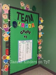 "Back to School ""Sports Theme"" The wall just outside my classroom is complete. Welcome Team First Grade!"