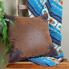 Western Tooled Leather Pillow  rustic southwestern by LizzyandMe