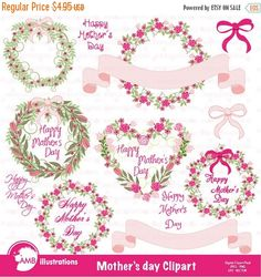 80%OFF Mother's day clipart, Wedding clipart, Floral clipart, Banner clipart, commercial use, digital clip art,, AMB-865