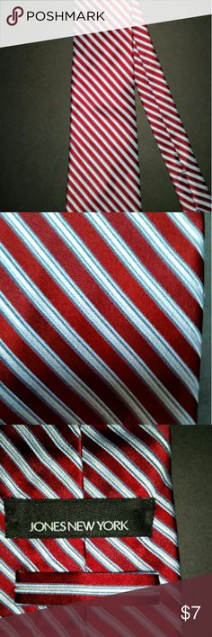Jones New York neck tie Red White & pale Blue diagonal stripes  85 % silk 15 % cotton Accessories Ties