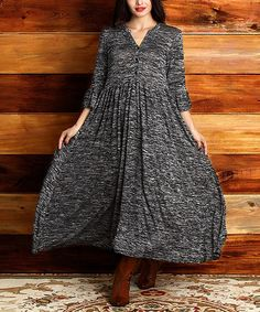 Look at this #zulilyfind! Charcoal Melange Button-Front Maxi Dress - Plus #zulilyfinds