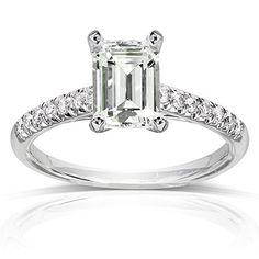 Kobelli Forever One Near-Colorless GHI Moissanite Engagement Ring with Diamond 1 7/8 CTW 14k White Gold