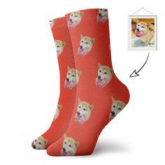 Custom Short Socks With Dog Face Printing