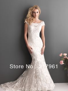 2013 New Style Lace Mermaid Wedding Dresses Cap Sleeve Backless Deep V Back Tulle Bridal Gowns UG GS