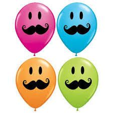 Moustache Smiley Face Latex Balloon - Let's Party With Balloons