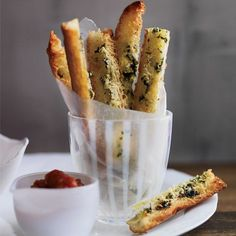 In this imaginative #party #snack, addictive garlicky bread sticks and smoky, bacon-laced tomato sauce resemble french fries and ketchup.
