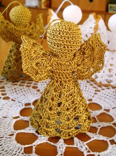 Beautiful Crochet Angels in Gold color  White with Gold detailing, Precious Ornament on your Christmas Tree