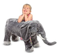 Elephant Giant Stuffed Animal : Make way for the elephant!  Youll need plenty of room in your heart for this lovable elephant.  Excellent quality construction and attention to detail are obvious in this elephants tusks, wrinkled trunk, floppy ears, right down to its toenails. Just right for elephant-sized hugging! Built sturdy. Not intended as a seat or ride-on.