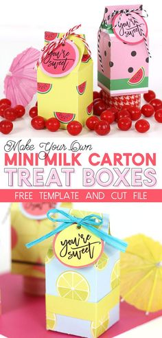 make your own mini milk carton treat boxes with this free template and cut file - perfect party favor box! You can cut these by hand or with your Silhouette or Cricut and use any paper to fit your party theme Homemade Gifts, Diy Gifts, Craft Tutorials, Craft Projects, Paper Box Template, Carton Diy, Mini Milk, Treat Box, Mendoza