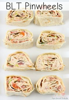 BLT Pinwheels Recipe - Sugar, Spice and Family Life BLT Pinwheels are a delicious twist on BLT sandwiches. These tortilla roll ups are also great as an appetizer or party food. - BLT Pinwheels Recipe on Sugar, Spice and Family Life Tortilla Pinwheels, Tortilla Rolls, Roll Ups Tortilla, Blt Roll Ups, Sandwhich Roll Ups, Tortilla Roll Ups Appetizers, Roll Up Sandwiches, Tortilla Recipes, Crack Crackers