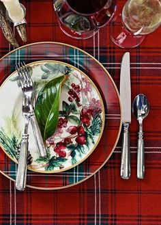 Red plaid tablecloth and dinnerware