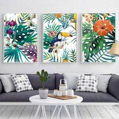 Tropical Rainforest Watercolor Plants Flower Bird Natural Style Canvas Posters And Prints Wall Art Painting Living room decor #WallCanvas #wallart #artwall #wallartwork #artonthewall #wallmurals #streetartwork #muralartist #wallartist #muralpaiting