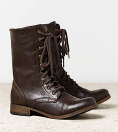 Chocolate Leather Lace Up Work Boots