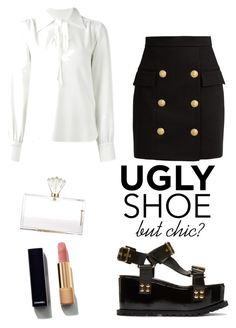 """ugly shoe.. are you really sure?"" by valentina-emvi-morato ❤ liked on Polyvore featuring Sacai, Balmain, See by Chloé, Charlotte Olympia and Chanel"