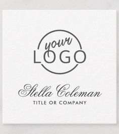 Shop Feminine romantic script font add your own logo square business card created by TheStationeryShop.