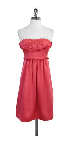 BCBG Pink Silk Strapless Dress