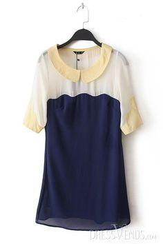 #Chiffon #Dresses #Block Gorgeous Color Block Assorted Colors Chiffon Half Sleeves Dress