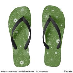 White Geometric Lined Floral Pattern Design Flip Flops