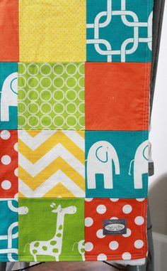 Baby Blanket, Modern Baby Quilt - Bright Colors 2, Elephant and Giraffe