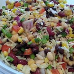 Mexican Orzo Salad - no loose corn is allowed in my salads, so I added a can of diced tomatoes with green chilies. I also substituted the white beans for red beans, and left out the chickpeas because two Orzo Salad Recipes, Pasta Salad, Rice Salad, Risoni Recipes, Cobb Salad, Tropical Island, Clean Eating, Healthy Eating, Chopped Salads