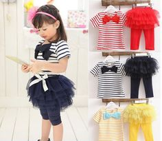 >> Click to Buy << baby girl clothes Set Two Pieces Stripes Bow T-shirt + Tutu Skirt Leggings Lovely Baby Kids Clothing #Affiliate