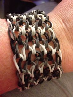 Black /grey glow in the dark dragon scale bracelet i made.
