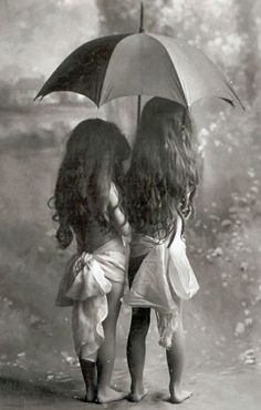 Rain | Vintage picture of two very young girls sharing an umbrella in the rain. by Hayley.Ray.<3