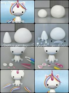 Polymer Clay Animals Polymer Clay Figures Fondant Figures Cake Topper Tutorial Fondant Tutorial Fondant Toppers Fondant Cakes Create Yourself Create Your Own Fondant Toppers, Fondant Cakes, Party Unicorn, Unicorn Birthday Parties, Rainbow Unicorn, Cake Topper Tutorial, Fondant Animals, Unicorn Cake Topper, Fondant Figures