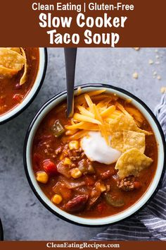 This Clean Eating taco soup recipe is full of flavor and my children love it! I love how it's really healthy and easy to make in the crock pot and the leftovers are even better than the first day. {Gluten-Free} via @ Healthy Taco Soup, Healthy Tacos, Healthy Crockpot Recipes, Real Food Recipes, Soup Recipes, Healthy Cooking, Recipies, Dinner Recipes, Clean Eating Tacos