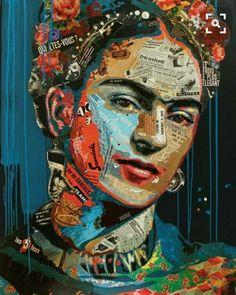 Illustrations & Prints by AnnaSorokinaArt L'art Du Portrait, Collage Portrait, Fridah Kahlo, Frida Art, Frida Kahlo Artwork, Frida Kahlo Portraits, Kahlo Paintings, Paper Collage Art, Collage Collage