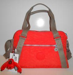 NEW NWT KIPLING Anette Satchel Handbag Crossbody Orange Nylon Khaki Trim HB6498 #Kipling #SatchelCrossbody