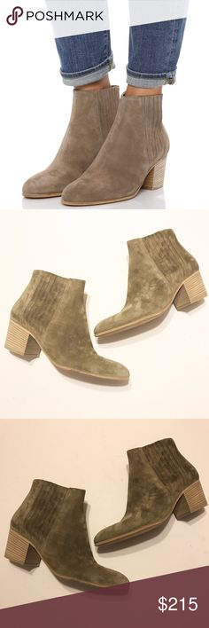 NEW! Vince Haider Booties in Flint. NWOT! • Lux Vince cowhide leather booties • Beautiful topstitching & suede • Heel height: approximately 2 inches • Ask all questions before purchasing! • Flint color • Size 38. Vince Shoes Ankle Boots & Booties