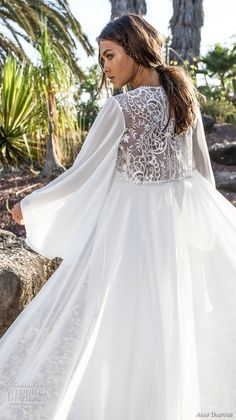 asaf dadush 2018 bridal long sleeves deep plunging sweetheart neckline heavily embellished bodice high slit skirt soft a line wedding dress covered lace back sweep train (4) zbv