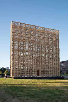 Pezo von Ellrichshausen - Mine Pavilion, Denver, US Bamboo Architecture, Facade Architecture, Pezo Von Ellrichshausen, Balloon Frame, Timber Structure, Urban Agriculture, Timber Cladding, Small Buildings, Brutalist