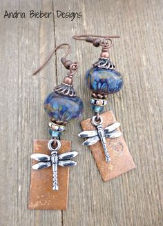 Dragonflies. Silver dragonfly charms, copper charms, rhinestones, lampwork glass earrings