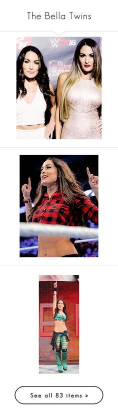 """The Bella Twins"" by amysykes-697 ❤ liked on Polyvore featuring jewelry, rings, divas, the bella twins, wwe, tops, blue top, red top, brie bella and home"