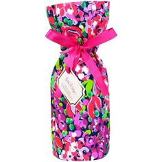 Lilly Pulitzer Wine Tote, Wild Confetti ($20) ❤ liked on Polyvore featuring bags, handbags, tote bags, long purse, handbags totes, pink tote, pink purse and wine tote bag