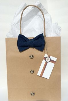 Denim Bowtie with Brown Button Embellishments Gift Bag