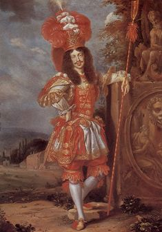 Emperor Leopold I (1660): Short sleeved doublet, loose canon with ruffle breeches, ruff sleeve cuffs, long hair, shoes with rosettes