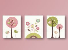 Baby Room, Art Nursery Decor, Birds, baby nursery wall art, nursery girl room, tree, kids art, flowers, Set Of 3, 8x10 prints. $42.00, via Etsy.