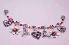 Charivari  Blütenkette Rot  fürs Dirndl,Tracht,Oktoberfest;oder Collier