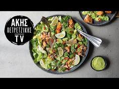 Σαλάτα με σολομό και αβοκάντο από τον Άκη Πετρετζίκη. Φτιάξτε μια νόστιμη σαλάτα με ζουμερό σολομό, γλυκόξινο dressing, μαρούλι και αβοκάντο! Greek Recipes, Cobb Salad, Sprouts, Potato Salad, Potatoes, Vegetables, Ethnic Recipes, Food, Youtube