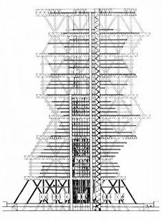 Louis I. Kahn, Design for an Office Tower, Section, Philadelphia, Pennsylvania, 1952-1957