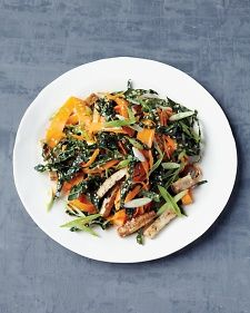 Week 3- Lunch: Shaved Carrot Salad with Baked Tofu       2 tsp rice vinegar      1 tsp toasted sesame oil      1 tsp honey      1 tsp toasted sesame seeds      1 sliced scallion      Peeled ribbons of 1 carrot      1 cup thinly sliced kale      1/2 cup thinly sliced Baked Tofu      Coarse salt
