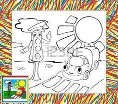 Coloring Book avec la fronti�re. Dr�le camion et feux de circulation photo