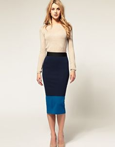 Could easily DIY the color blocking by adding fabric to existing pencil skirt.