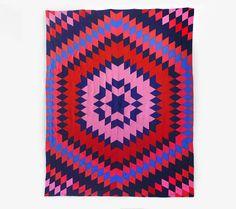 Vintage Geometric Quilt - Mid Century, Blanket, Cotton, Colorful